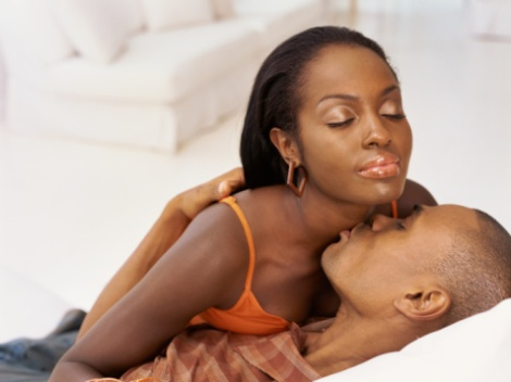 black woman and man intimate