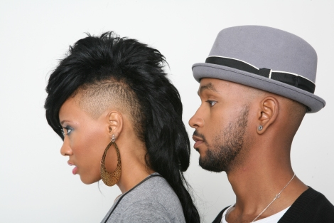 black couple staring off