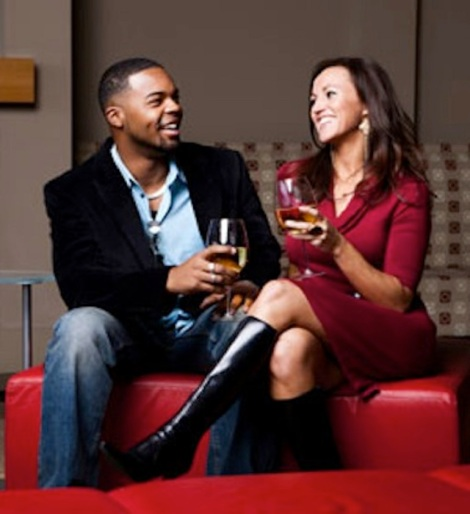 black couple having drinks