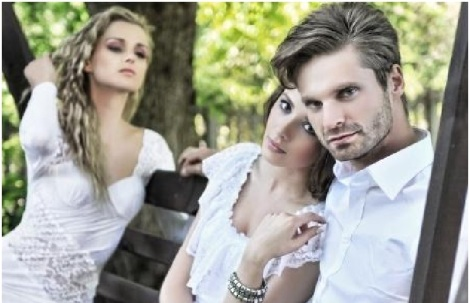 man with women and side chick